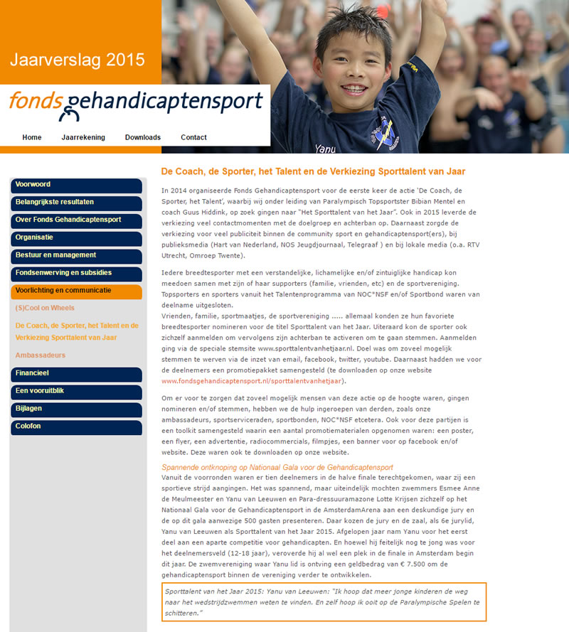 Online jaarverslag 2015 Fonds Gehandicaptensport
